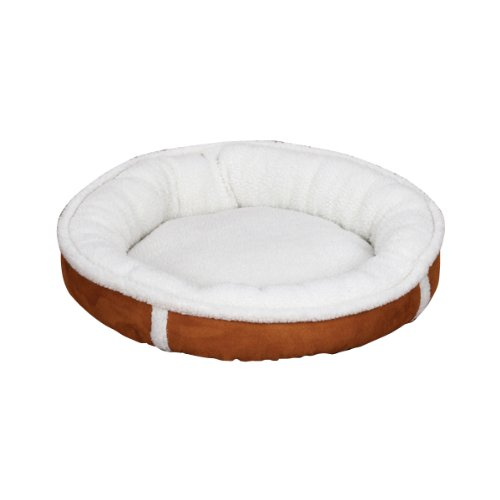 Slumber Pet Polyester Sherpa Donut Dog Bed, Small, Chestnut