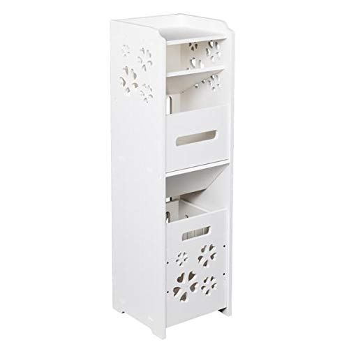 Famgizmo Bathroom Floor Storage Cabinet Storage Organizer Set, Free Standing Unit, Multifunctional Organizer with Garbage Can & Adjustable Shelf for Living Room, Kitchen, Entryway, Bathroom, White