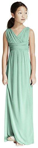 David's Bridal Long Sleeveless Mesh Dress with Ruched Waist Style JB5728, Mint, 8]()