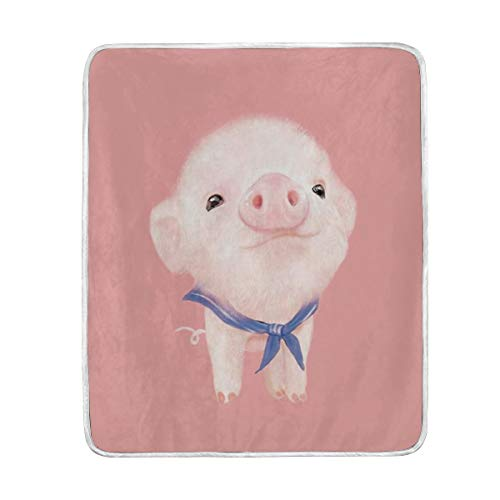 poeticcity 1PC Blanket, Pig Plush Throws Siesta Camping 50