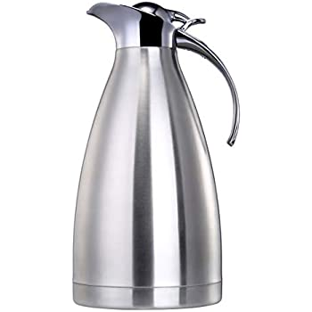 EAMATE Thermal Coffee Carafe, 68 Oz (2 Liter) Stainless Steel Vacuum Insulated Thermos, Double Walled Beverage Pitcher, 24hrs Heat & Cold Retention (Silver)