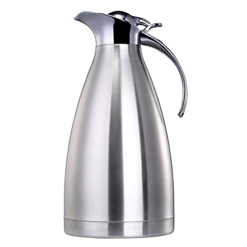 - EAMATE Thermal Coffee Carafe, 68 Oz (2 Liter) Stainless Steel Vacuum Insulated Thermos, Double Walled Heavy Duty, 24hrs Heat & Cold Retention (Silver)