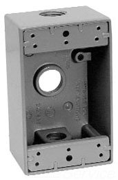 Crouse Hinds TP7010 Electrical Box, 2'' Deep Weatherproof Cast Aluminum Outlet Box w/(3) 1/2'' Outlet Holes