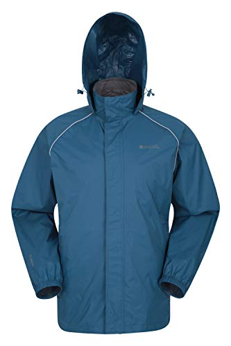 Mountain Warehouse Pakka Mens Waterproof Rain Jacket - Packable Petrol Blue Medium