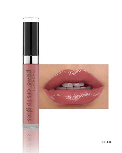 Power Oils Lip Gloss by VASANTI - One-Swipe Full Coverage with Non-Sticky Shine - Infused with Lip Nourishing and Hydrating Power Oils - Paraben Free, Vegan Friendly, Never Tested on Animals (Celeb)