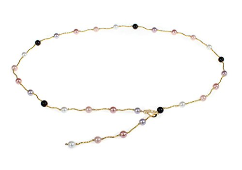 l Chain Flower Pearl Belts Gold Shell Pearls ()