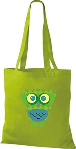 Shirtinstyle Jute Handbag Pretty Colorful Owl Bag With Dots Striped Retro Owl Boxes Different Color Lime