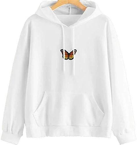 Women`s Butterfly Sweatshirt Long Sleeve Pullover Hoodie Tunic Shirts Tops Lightweight Casual BlousePocket