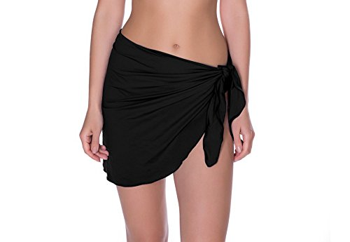 Sarong Skirt Dress (Timistar Beach Cover Womens Beach Sarong Pareo Swimwear Chiffon Cover up Swimsuit Wrap Solid Color Short (Black))