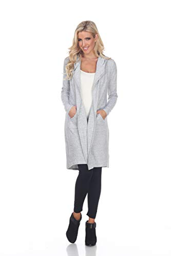 (White Mark Women's Hooded Cardigan Heather Grey)