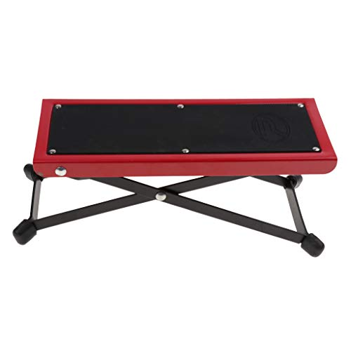 Baosity Foldable Metal Guitar Foot Rest Anti-slip Stand 4-Level for Guitar Player - Red by Baosity (Image #3)