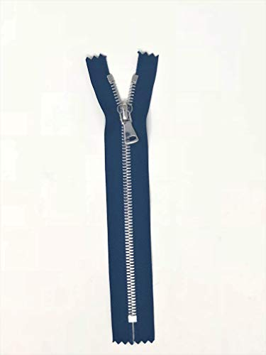 - Navy Glossy Pocket Zipper Silver Teeth 5MM in 7 inches Closed Non Separating
