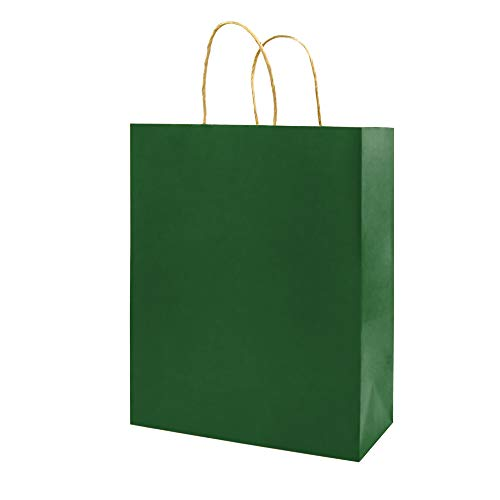 100 Pack 8×4.75×10 inch Medium Green Gift Paper Bags with Handles Bulk, Bagmad Kraft Bags, Craft Grocery Shopping Retail…
