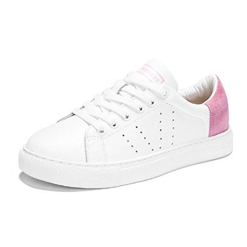HWF Chaussures femme Chaussures de sport de plat femelle blanc printemps plat chaussures de sport respirant chaussures femmes ( Couleur : White pink , taille : 37 ) White Pink