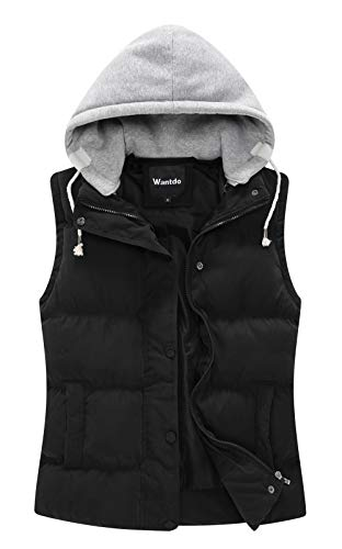 (Wantdo Women's Quilted Puffer Vest with Removable Hood US Small Black)