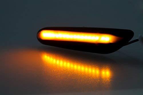 Pr/üfzeichen passgenau f/ür Ihr Fahrzeugmodell Hochwertige Premium LED Seitenblinker in Schwarz Smoke mit E