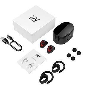 Cuffie Bluetooth senza fili – Mini Auricolari wireless bluetooth XIAOWU Effetto Stereo con Microfono Incorporato e Base di Ricarica per iPhone 8, 7 Plus, Samsung, iPad, Dispositivi Android (K5S-red)