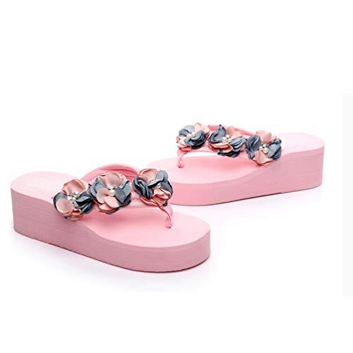 Zapatos Pedrería Chanclas Mujer Flores Para Verano Pink Con Plataforma Zapatillas Playa De Playa nq48rna6