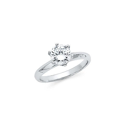Knife Edge Solitaire Setting - Sonia Jewels 925 Sterling Silver Knife Edge 1 Carat Round Solitaire CZ Cubic Zirconia Engagement Ring Size 6
