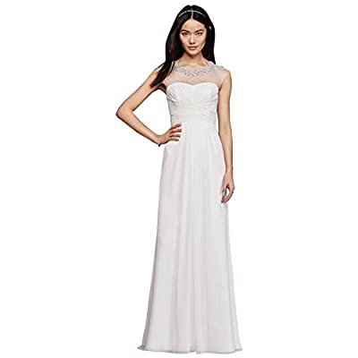 David's Bridal Sheath Wedding Dress With Beaded Illusion Neckline Style SDWG0437