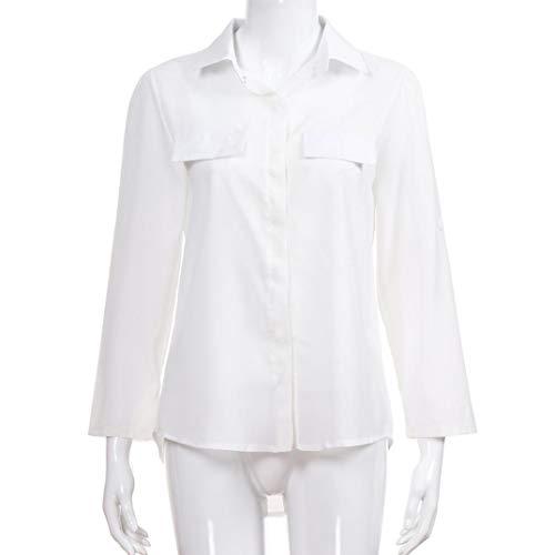avec Printemps Lache Shirts Blouse Longues Shirt Pullover T en Femme Tops Chic Manches Chemise Col Blanc Solide Casual Automne Bouton V Solike URPat