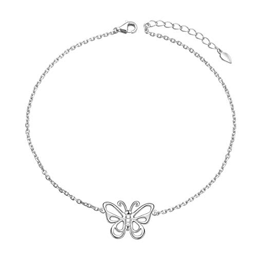 925 Sterling Silver Boho Beach Charm Adjustable Foot Chain Anklet Butterfly Ankle Bracelet for Women Girl Jewelry Birthday Gift (Butterfly)