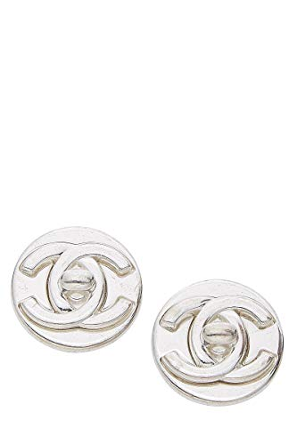 (CHANEL Silver Turnlock Earrings (Pre-Owned) )