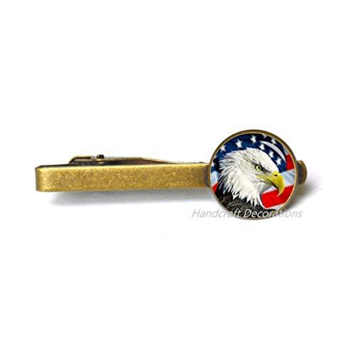 HandcraftDecorations American Bald Eagle Tie Pin Tie Clip,American Flag Tie Pin,Charm Tie Clip Patriot Tie Pin.F214 (E2)