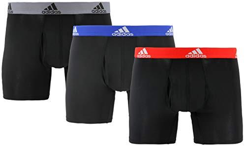 adidas Men's Performance Boxer Briefs Underwear (3-Pack), Black/Collegiate Royal Black/Scarlet Black/Onix, XX-LARGE
