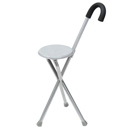 Folding Massage Walking Stick Tripod Stool Travel Cane Chair Seat for Old People - Folding Cane Stool