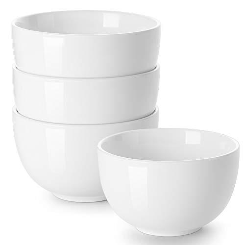 DOWAN Porcelain Bowls, 30 Oz Porcelain Bowl for Cereal, Soup, Ramen, Rice Bowls, Bowl Set of 4, White