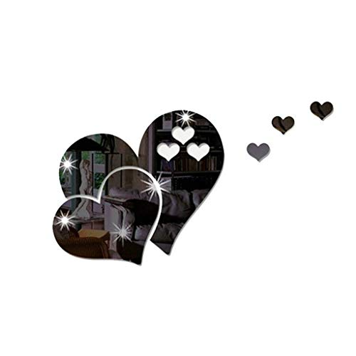 3D Mirror Wall Sticker Heart Shaped Art Decal Removable Living Room Home Decor