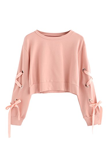 Casual Lace up Long Sleeve Pullover Crop Top Sweatshirt (Large, Pink#1) ()