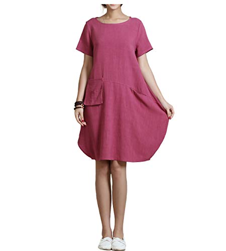 (Anysize Spring Summer Soft Linen&Cotton Lantern Loose Dress Plus Size Clothing Y18 Rosy Red)
