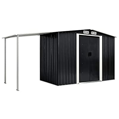 vidaXL 12x4 Metal Shed with Side Canopy