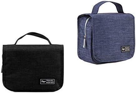 ポータブル女性と男性のための旅行トイレタリー化粧ポーチ、フック付き、バスルーム用のシェービングキットバッグ、防水トイレタリー収納袋ポケット、2個