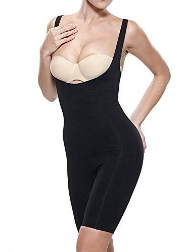 Fay Fay Women's Open Bust Shapewear Firm Control Mid Thigh Bodysuit Black XXL ()