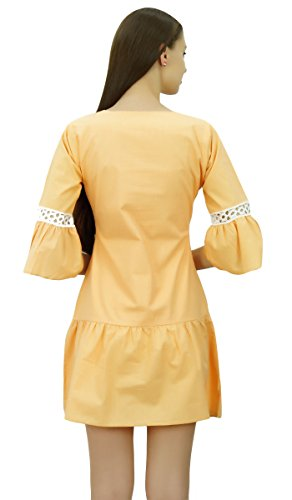 Ruffle Summer Boho Chic Dress Boho Mini Bimba Beige Sleeve Dress Beach Short Dresses HFAqUWwI