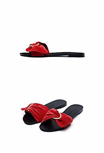 Sandales Plates Pur Été Chaussures Femmes Couleur C Ouvert CWJ Pantoufles Toe Arc 1z400qS
