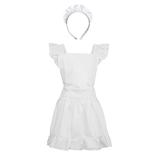 (Aspire Kitchen Apron For Women Retro Cotton Frilly Maid Apron Vintage Costume Halloween Party Gift-White Apron & Headband)