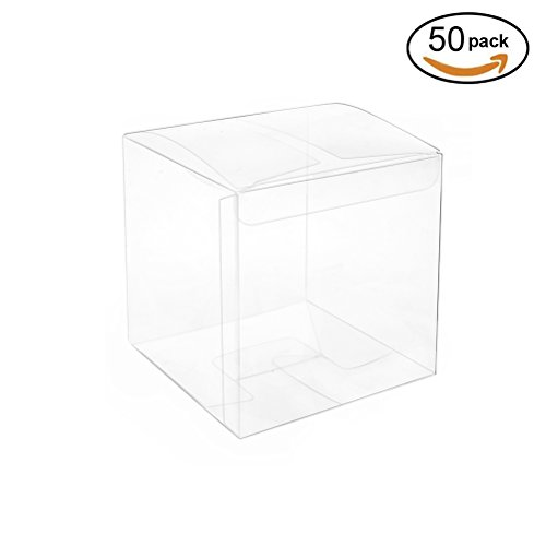 Clear Plastic Box 2.4x2.4x2.4 inch for Gift Candy Treat Cupcake Transparent Packing Box Party Favors 50pc by MOWO