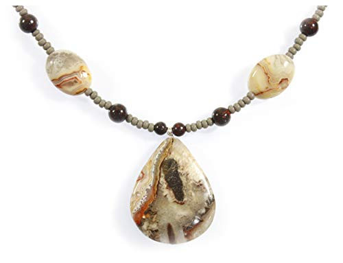 Style-ARThouse Designs from the Earth Crazy Lace Agate Pendant Necklace, 23 Inches Adjustable