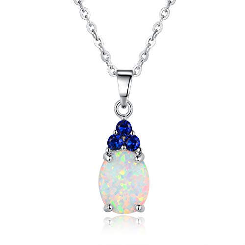 Pendant Opal Fire White - OPALBEST Oval Fire Opal Pendant Necklace White Gold Plated with Created Sapphire for Women Girls 19.5inch