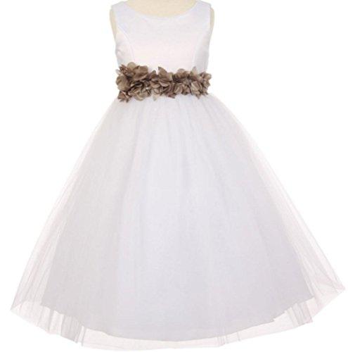 Big Girls' White Elegant Satin Tulle Ribbon Sash Flowers Girls Dresses Moca 8 ()