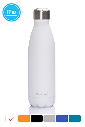 Navigate Vacuum Insulated Water Bottle|Leak-proof Double Walled Stainless Steel Travel Sports Water Bottle|Keeps Your Drink Hot&Cold For Sports Cycling Yoga Camping Hiking 17oz(500ml)(White