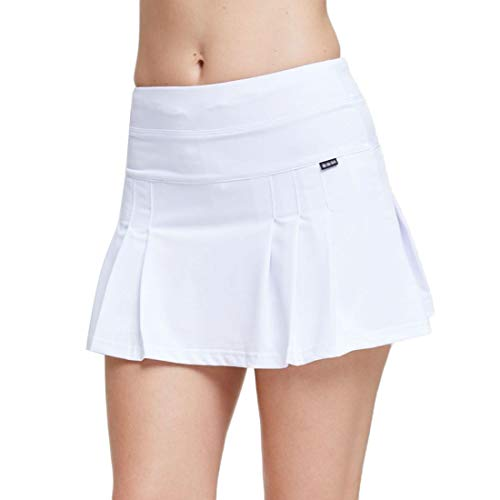d High Waisted Pleated Skort Quick-Dry Running Tennis Golf Mini Skirt with Underneath Shorts (White, Small) ()