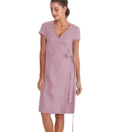 Amazhiyu Women's Linen Summer Short Sleeves Wrap Dresses V-Neck with Pockets Midi Dress Elegant (Pink, Medium)