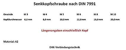 M 8 x 12 10x 10//25 St/ück Senkkopfschrauben DIN 7991 M3//M4//M5//M6//M8//M10 Edelstahl V2A Innensechskant //// EHK-Verbindungstechnik