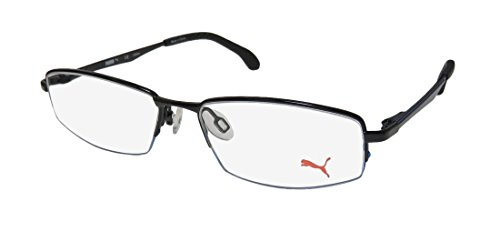 Puma 15427 Mens/Womens Designer Half-rim Spring Hinges Eyeglasses/Eye Glasses (49-15-135, Black / - Frames Navy Glasses