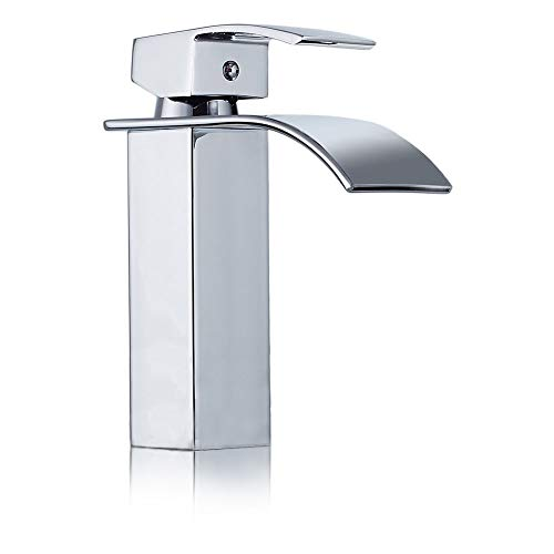 - Yontree Vessel Sink Faucet Single Handle Above Counter Vessel Waterfall One Hole Deck Mount Lavatory Faucet Chrome Finish Tall 9